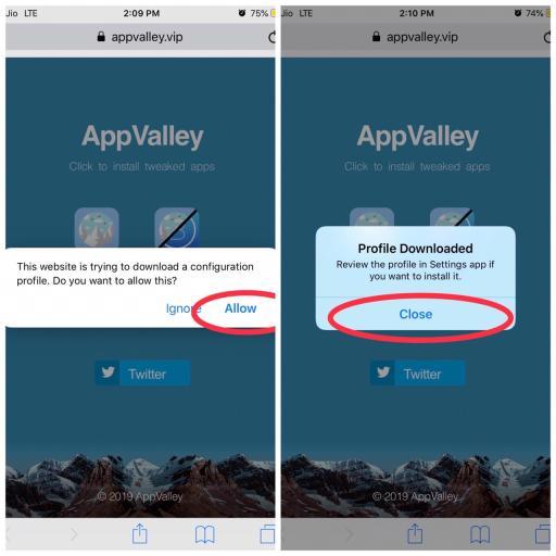 Downloading App Valley