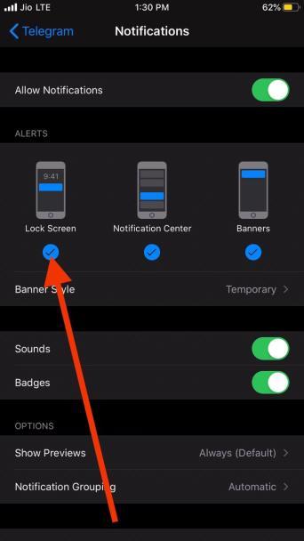 Disable lock screen notifications iPhone iOS 13