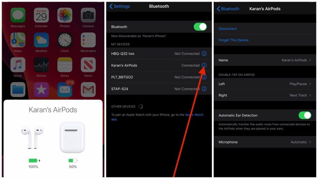 How to change airpod settings on iPhone
