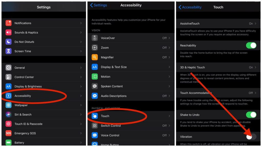 How to disable vibration on iPhone iOS 13