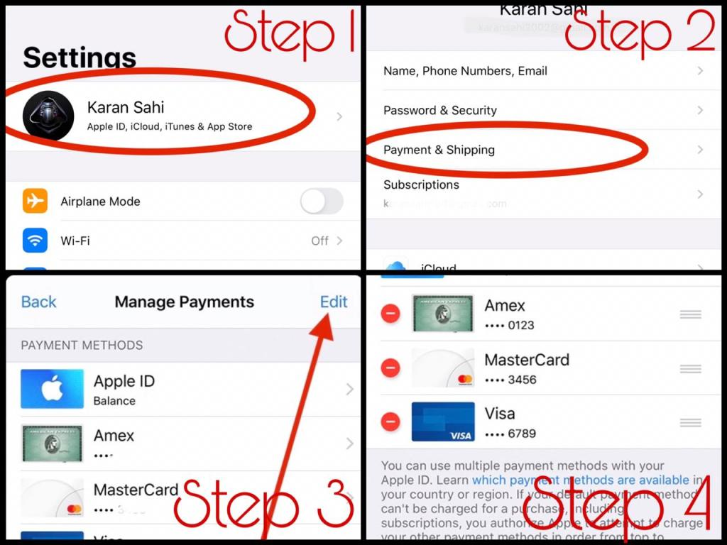 Steps to remove credit card from Apple ID