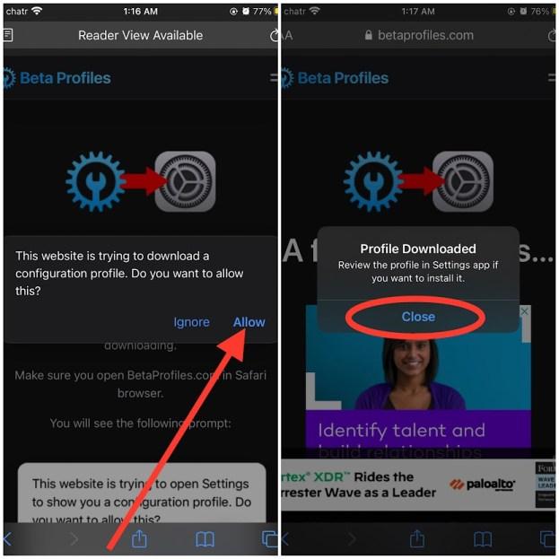 Downloading iOS 15 Developer Beta Profile