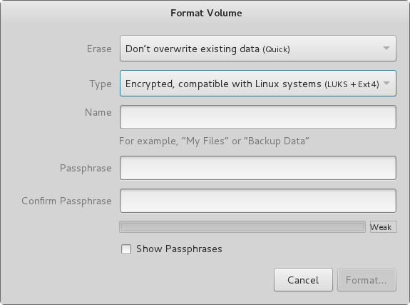 Format Volume pop-up, empty.