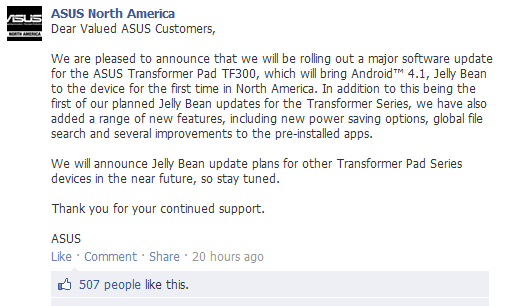 Official Jelly Bean update for Transformer Pad 300