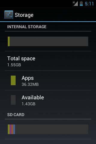 HTC Explorer internal memory