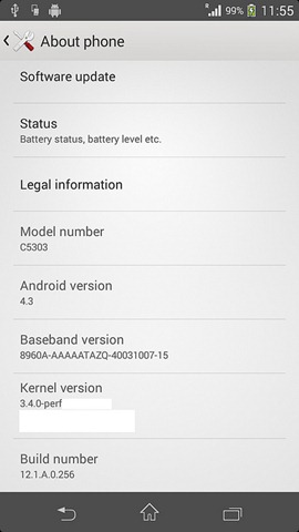 Xperia SP Android 4.3 leaked