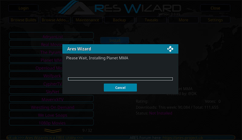Ares-Wizard-Installing-Planet-MMA