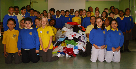 Year 5 students at London Fields School with their plastic bag mountain