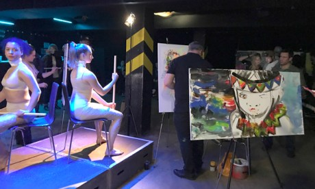 """""""More like a club night"""": Art Battle III in action. Photograph: Carlotta Goulden"""