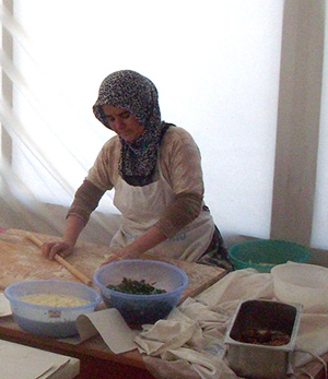 A Turkish woman prepares pide. Photograph: CookingwithLittleBuddy.com