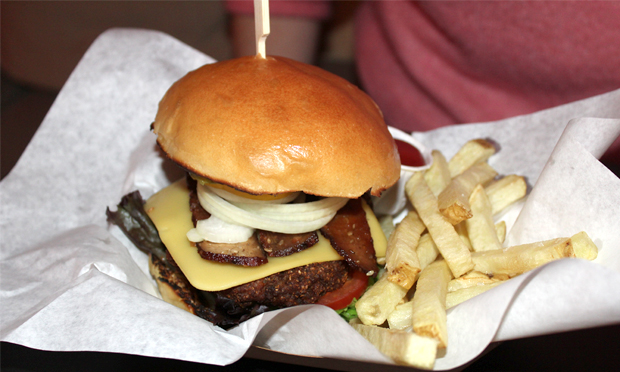 """""""A carefully planned masterpiece"""": Doppleganger's Classic burger. Photograph: Jade King"""