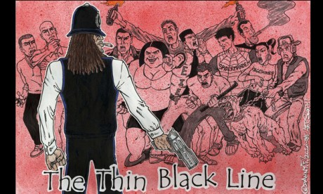 Scotland Yardie (one of the characters from Skank magazine and the subject of a new graphic novel) as drawn by Perspectives participant Danny F. Image courtesy of the artist