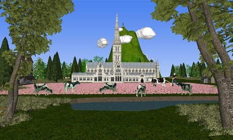 Countryfile: a still from Max Colson's digital animation The Green and Pleasant Land. Image courtesy the artist/arebyte