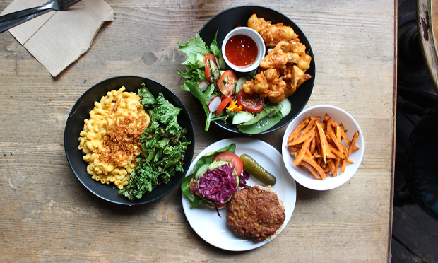 A typical modern vegan meal, courtesy of Hackney's Cafe SoVegan. Photograph: Jade King