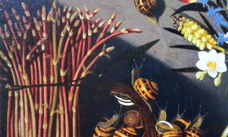'Fat spears': detail from a Caravaggio still life, featuring asparagus and some escargot