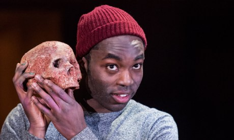 Paapa Essiedu (right) as Hamlet, pictured with Yorick (left). Photograph: Royal Shakespeare Company