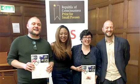 Triumphant: (r-l) Gary Budden (Influx), Sanya Semakula (Influx), Eley Williams and Kit Caless (Influx)