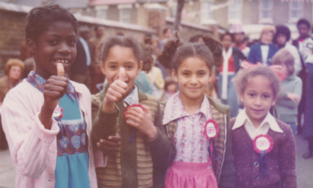 Jubilee: Glyn Road girls celebrate the Queen's 25th year on the throne in this image from The Lower Clapton Tales. Photograph: Pat Hornsby