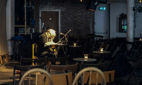 'More of an altar than a stage': Marc Ribot tunes up at Cafe Oto. Photograph: Ania Walisiewicz'More of an altar than a stage': Marc Ribot tunes up at Cafe Oto. Photograph: Ania Walisiewicz