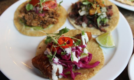 Taco trio: the Tofish is front-and-centre in this picture and in our reviewer's affections. Photograph: Jade King
