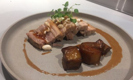 Pressed Pork Belly with Miso Aubergine and skin popcorns