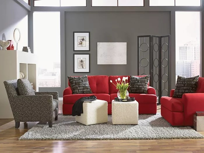 Design And Decoration Of A Gray Red Living Room Interior