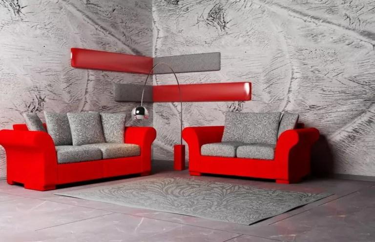 salon gris rouge