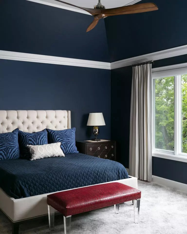 what curtains go well with blue walls