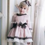 Vestido Rosa con Lazos Marrón Chocolate