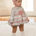 Vestido Bebe Gris y Tul Rosa