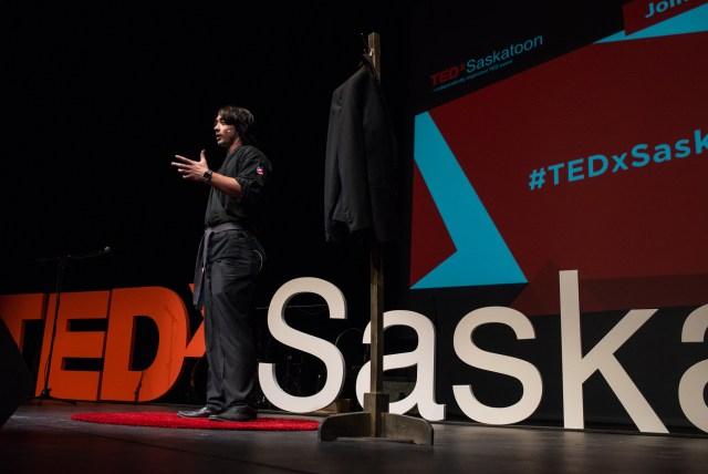 saskatoons best hypnotist Hadlen presenting his tedx talk ted talk at saskatoon persephone theatre