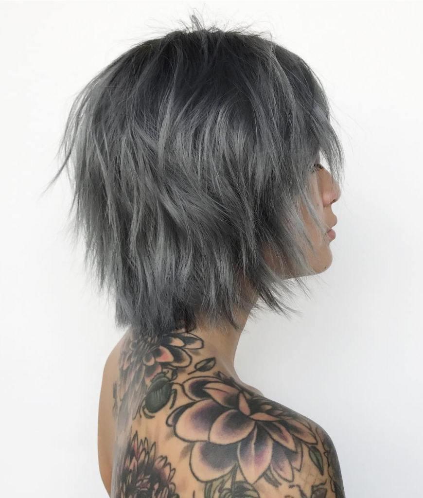 Short Shag Cut with Gray Balayage