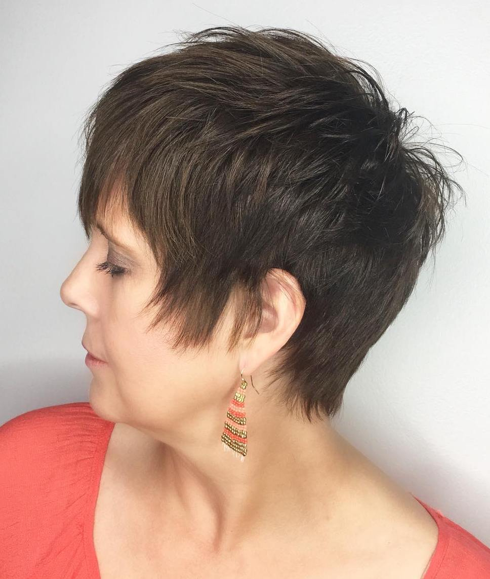 50+ Pixie with Long Sides and Spiky Top for Straight Hair