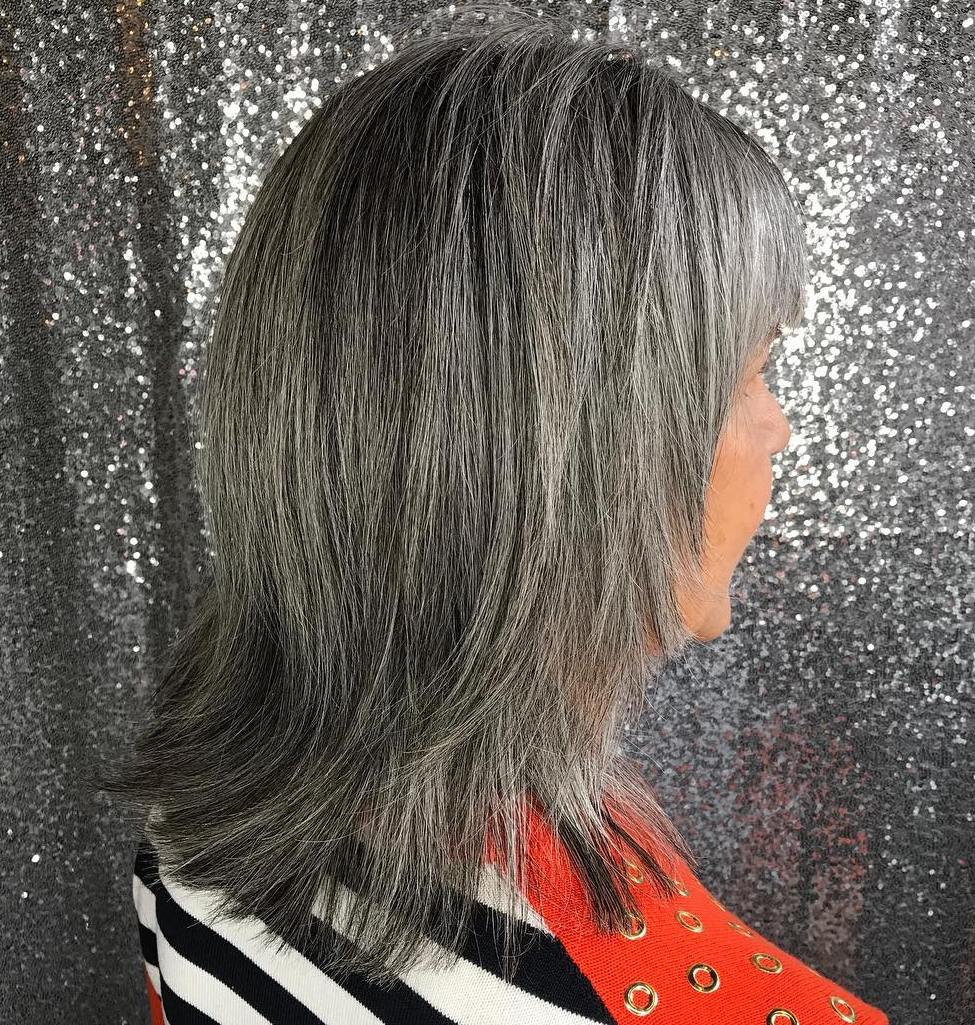 Mid-Length Straight Gray Hairstyle with Bangs