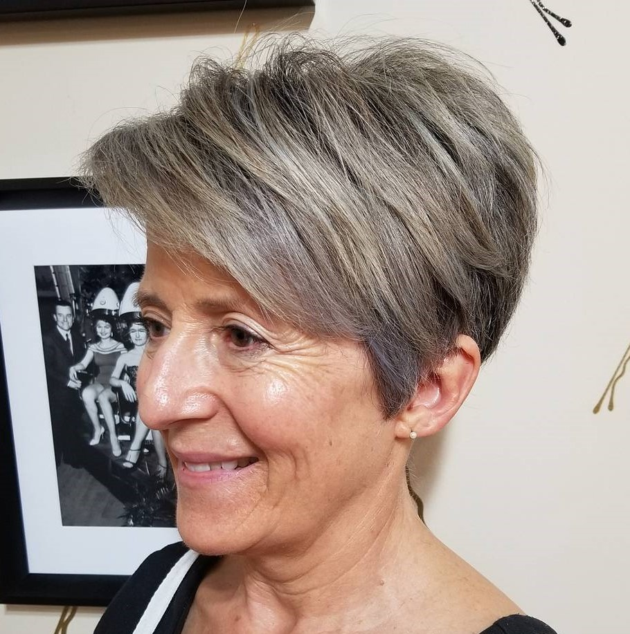Tapered Ash Brown Pixie with Side Bangs