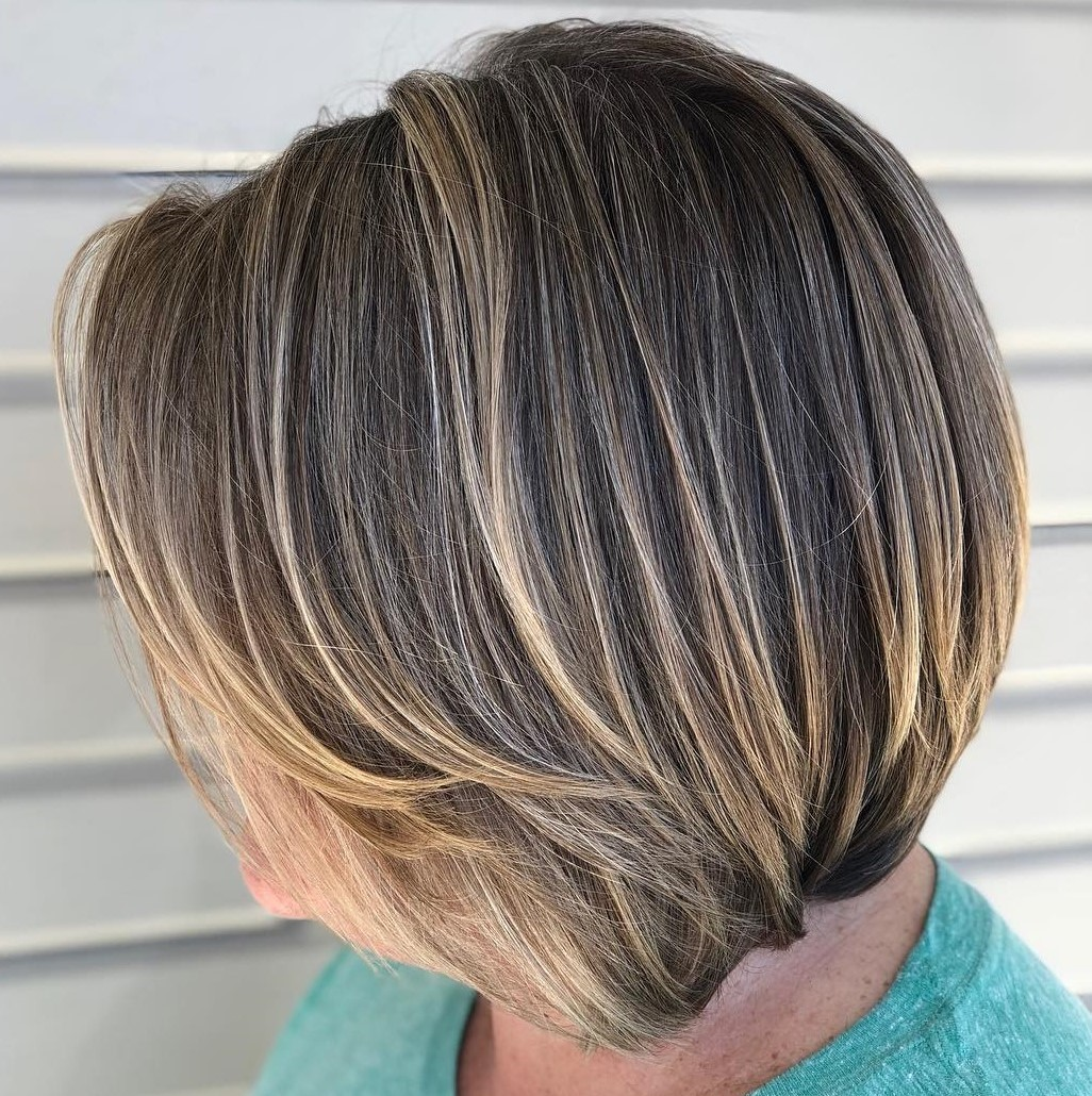 60+ Short Dark Layered Bob with Subtle Balayage
