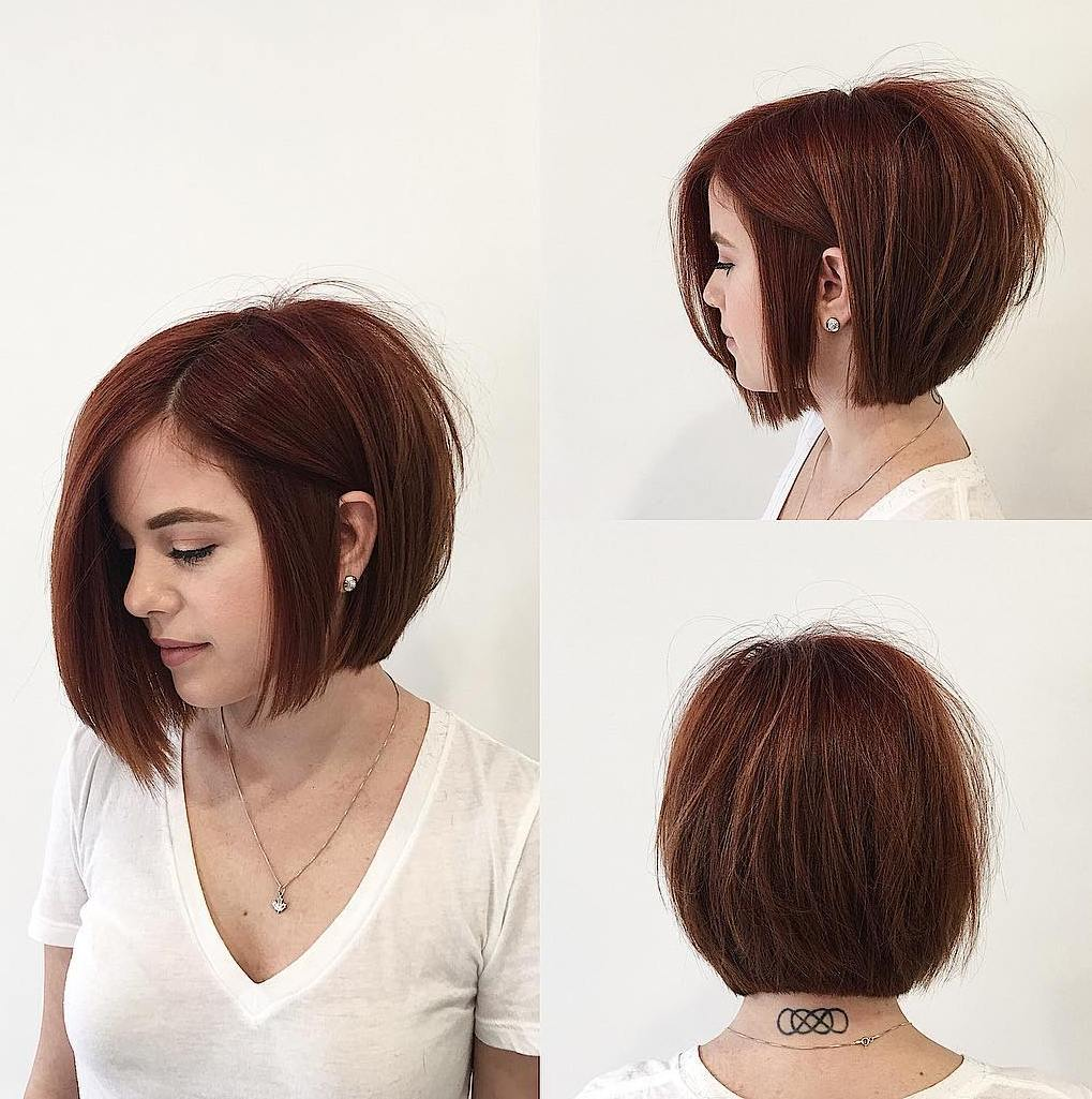 Chestnut Brown Full-Looking Stacked Bob