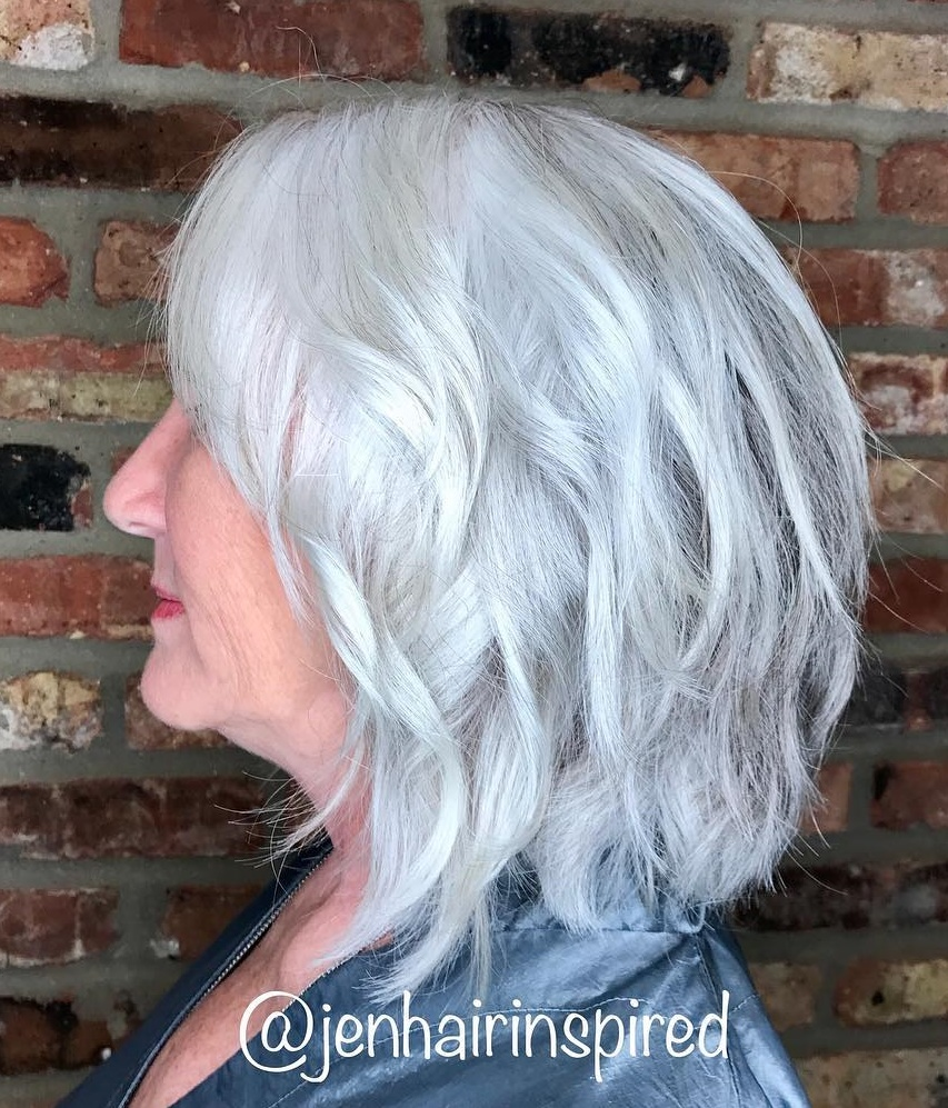 Voluminous Wavy Layered Silver Style