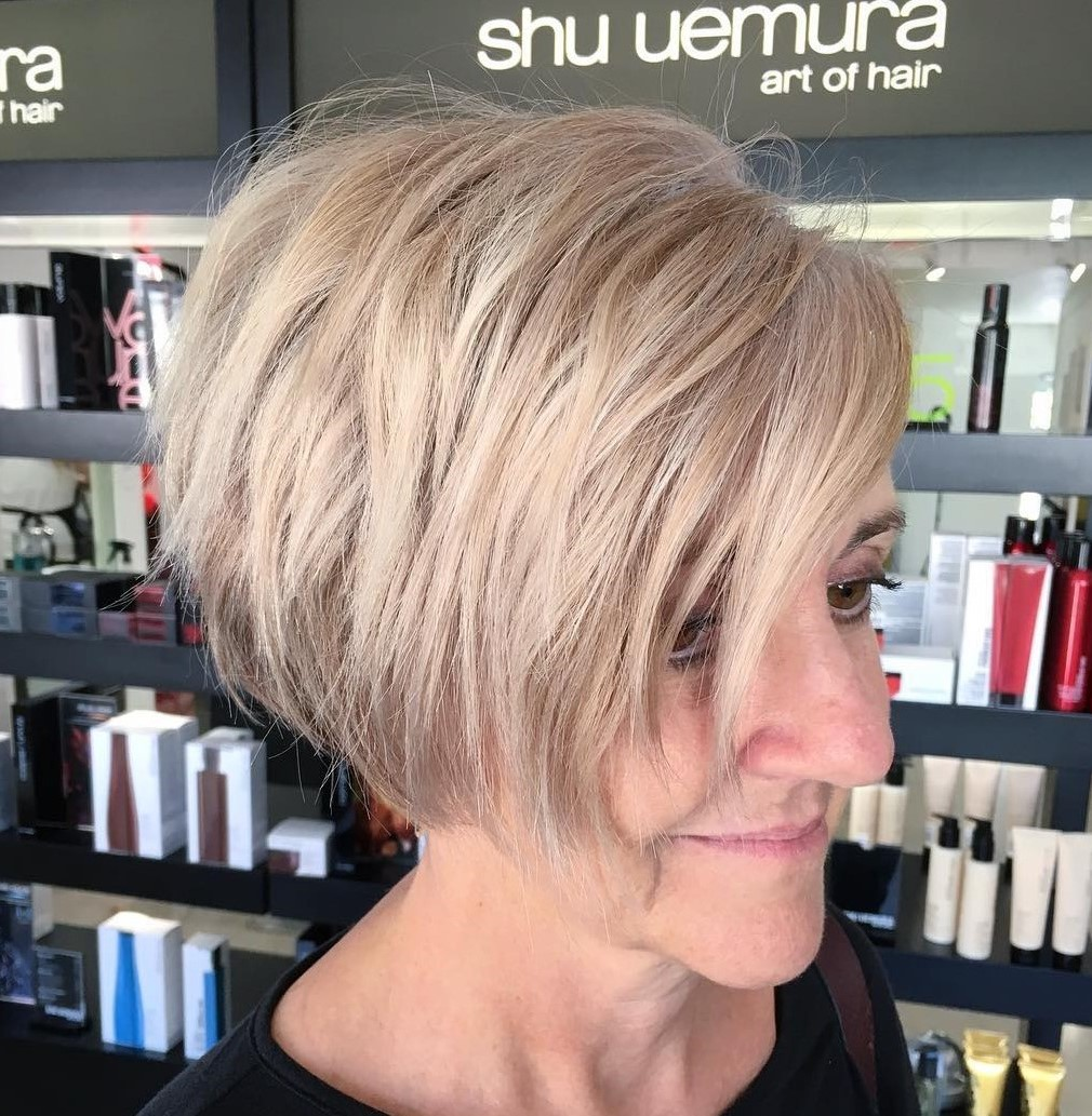Blonde Layered Jaw-Length Asymmetrical Wedge Bob