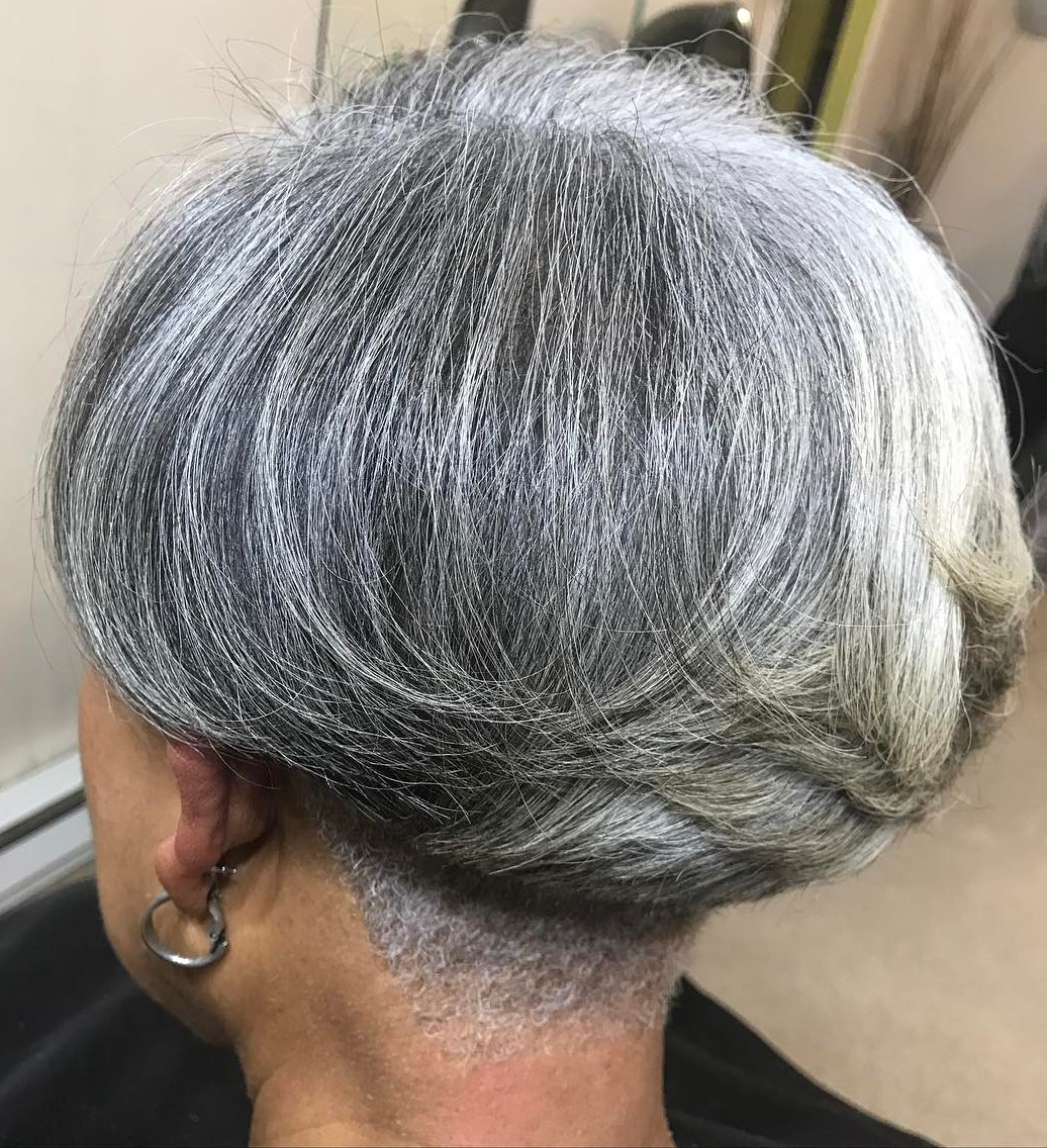 Short Gray Bob with Nape Undercut