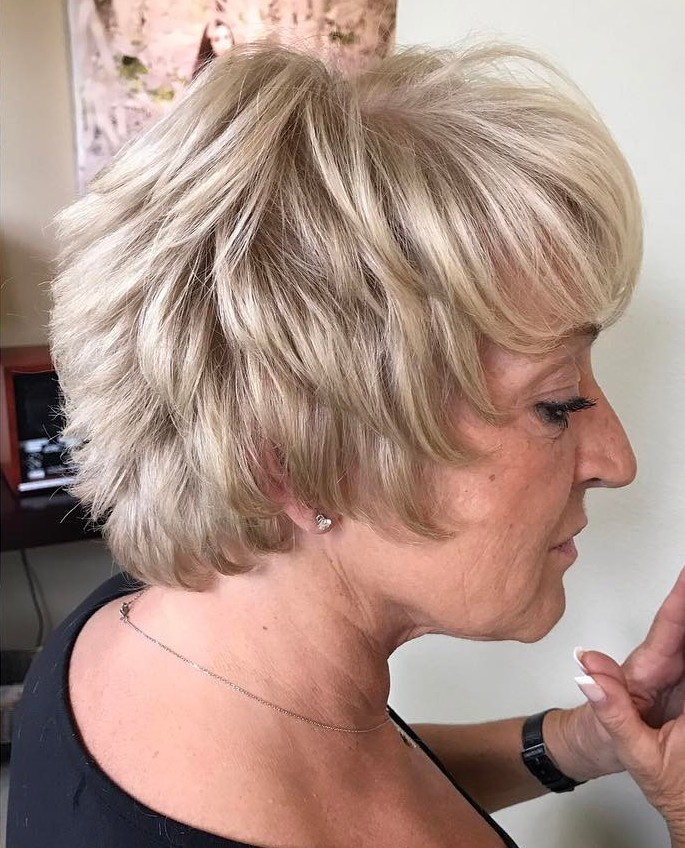 Short Blonde Feathered Shag over 50