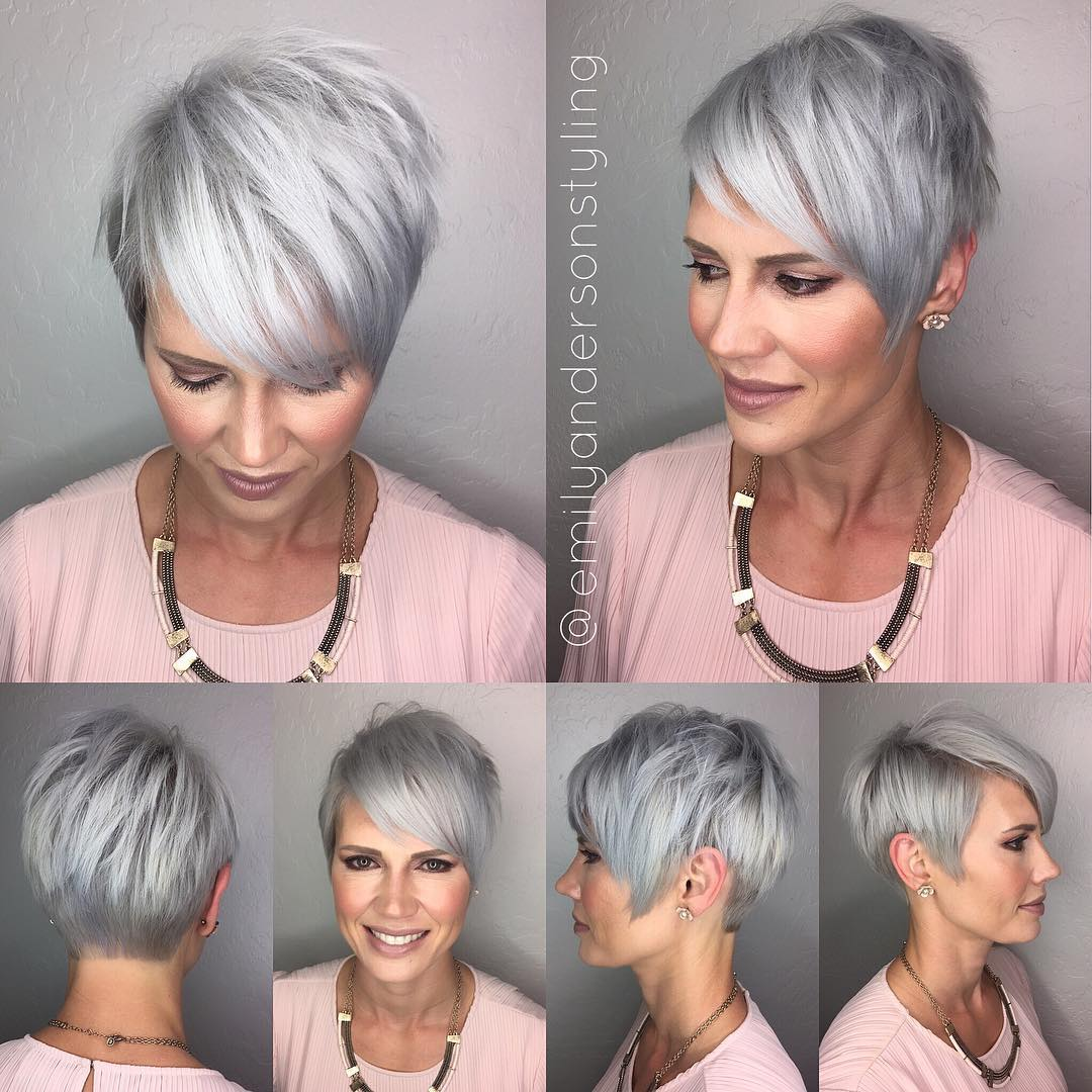 50+ Gray Short Pixie Hairstyle with Bangs
