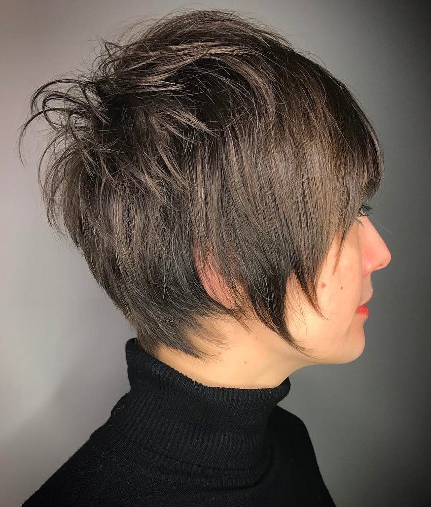 Long Pixie with Messy Layered Crown
