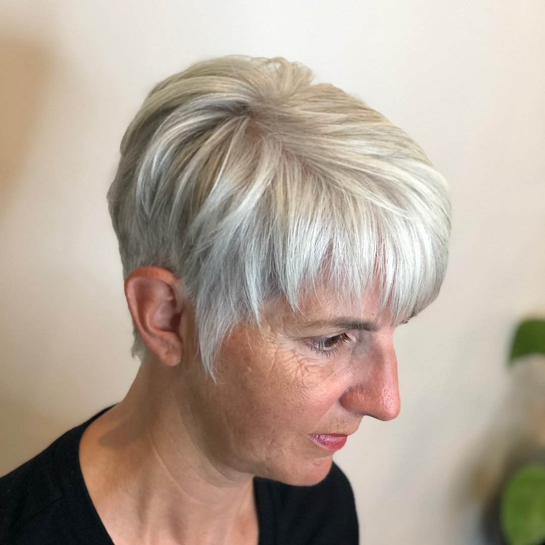 Short White Pixie with Tapered Sideburns
