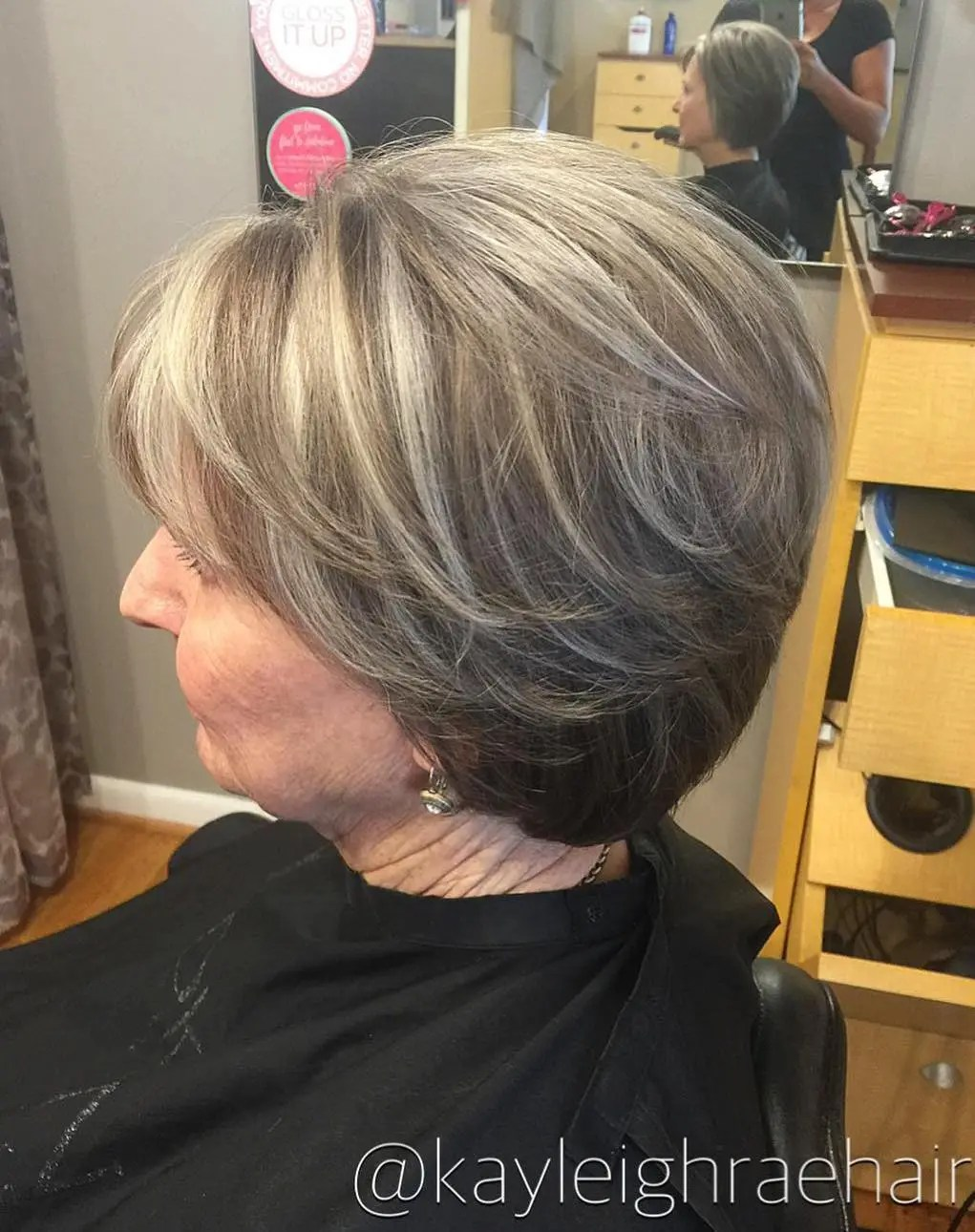 Short Light Brown Hairstyle with Gray Highlights