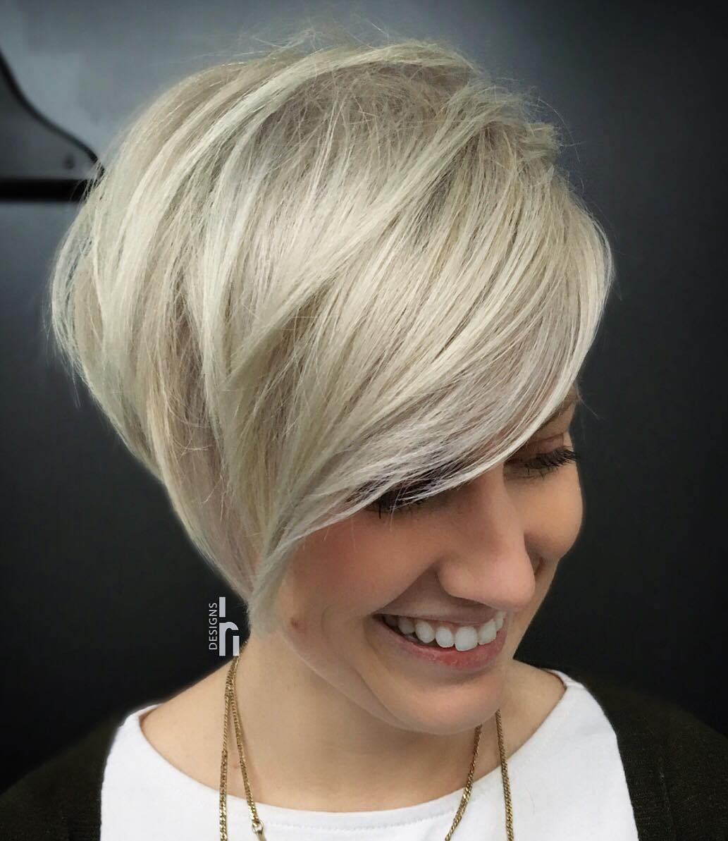 Blonde Longer Version of Pixie with Side Bangs for Fine Locks