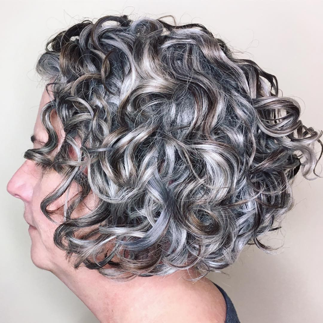 Brown Gray Very Curly Bob