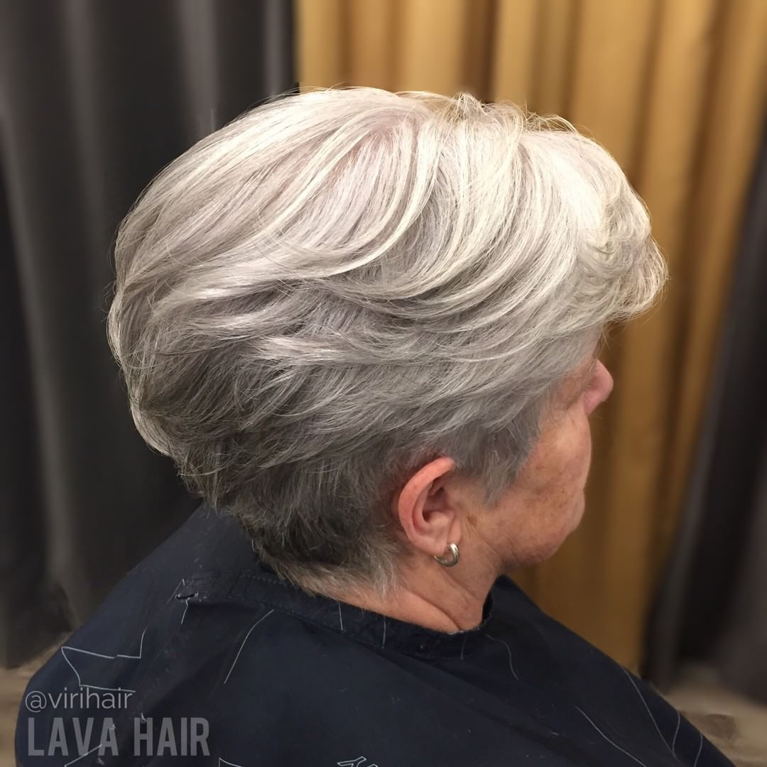 Layered Gray Long Pixie Hairstyle for Older Women