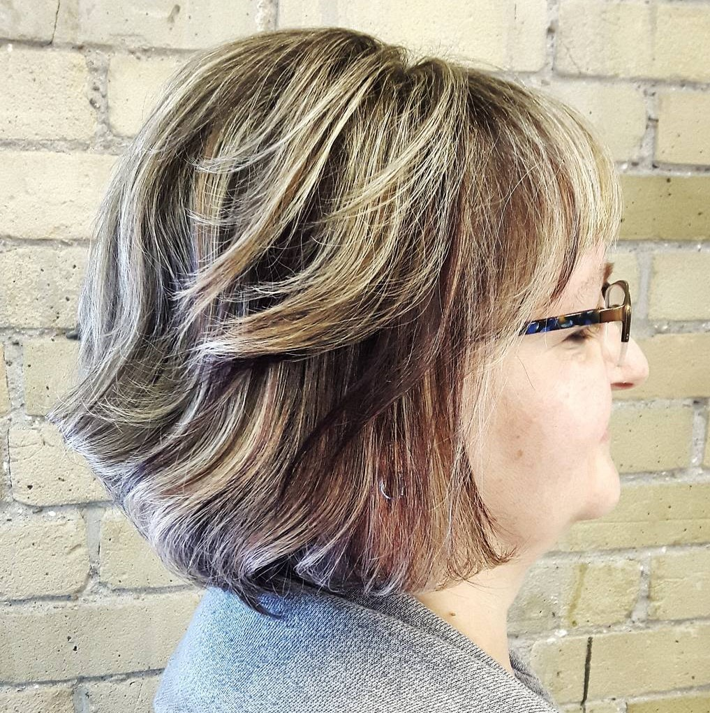 60+ Shorter Layered Hairstyle with Bangs and Balayage