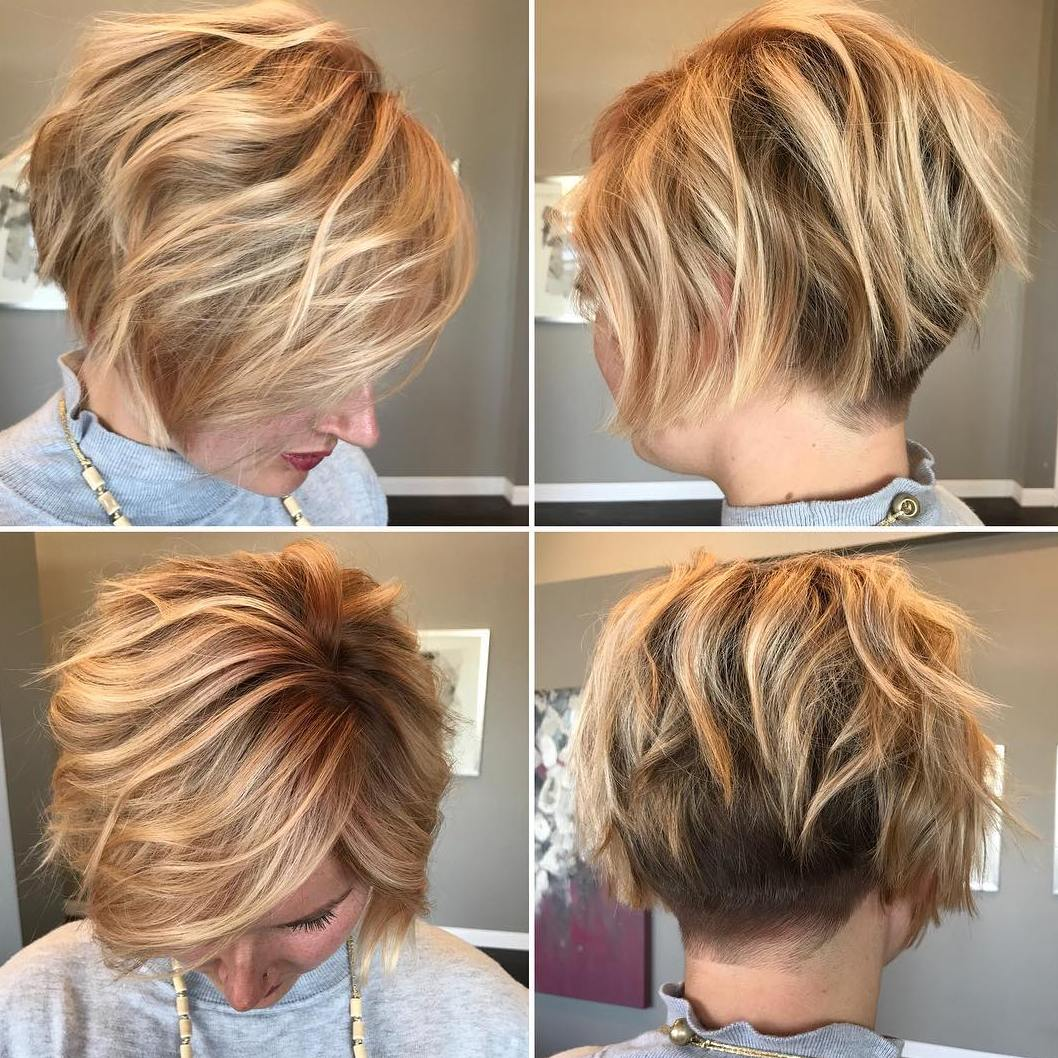 Short Fine Blonde Undercut Bob